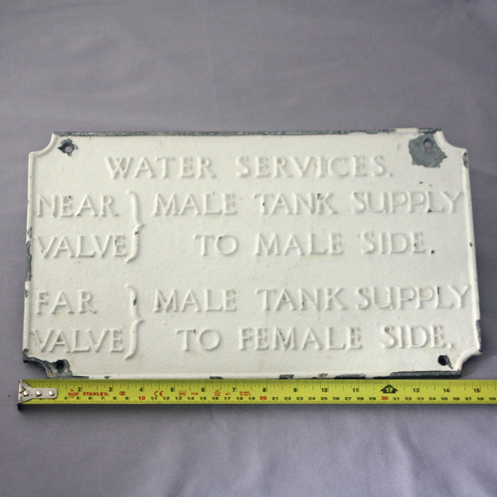Large Vintage Painted Mid Century Factory Water Sign