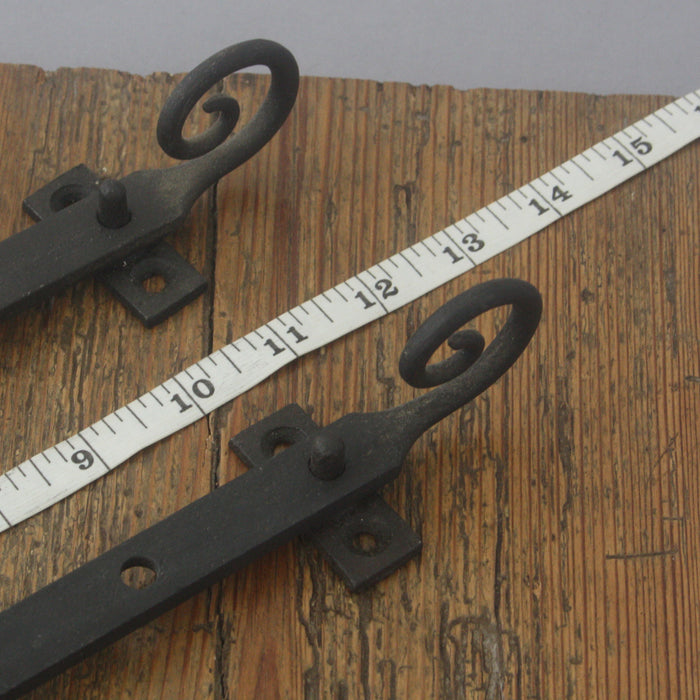 Pair Black Iron Rat Tail Window Stays