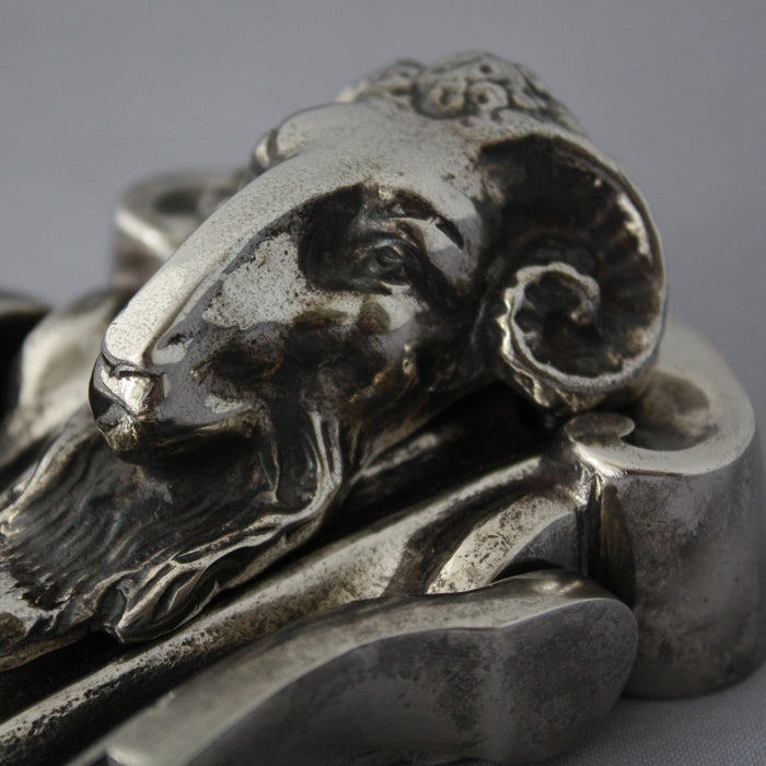 Rams Head Nickel Door Knocker