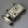 Regency style nickel surface mounted rim latch
