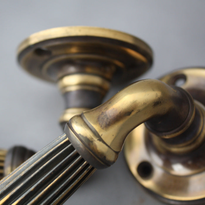 Brass regency antiqued lever handles