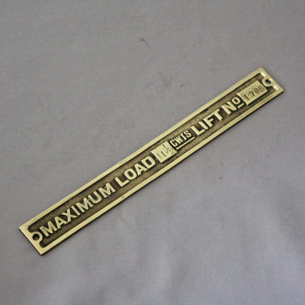 Small Brass Lift Sign