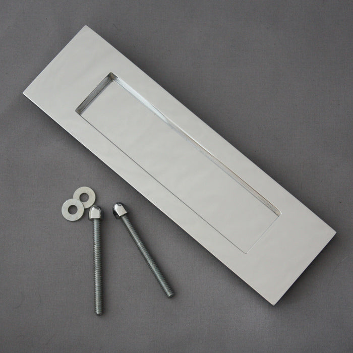 Vertical Chrome Front Door Letterbox