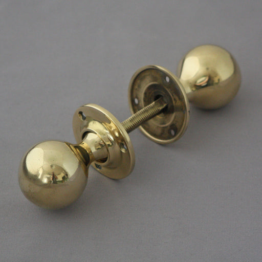 Edwardian Yellow Brass Door Knobs