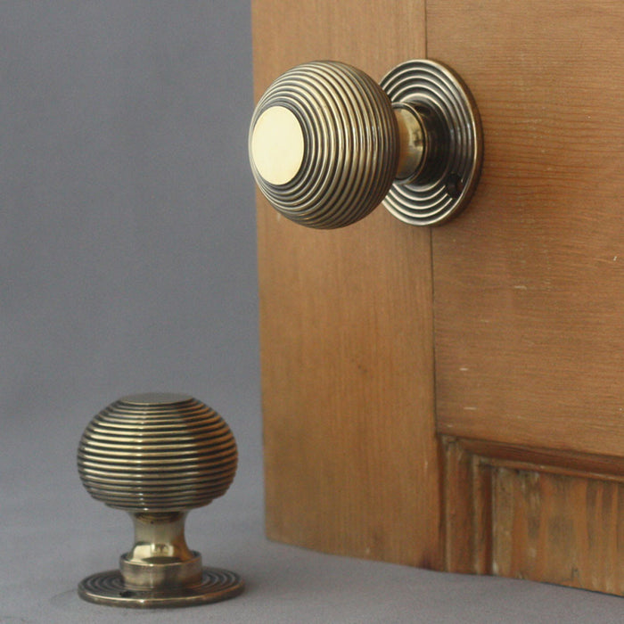 Antique Style Large Solid Brass Beehive Door Knob various finishes