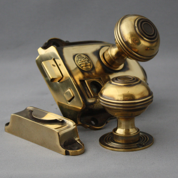 Brass bathroom rim latch and bloxwich knobs
