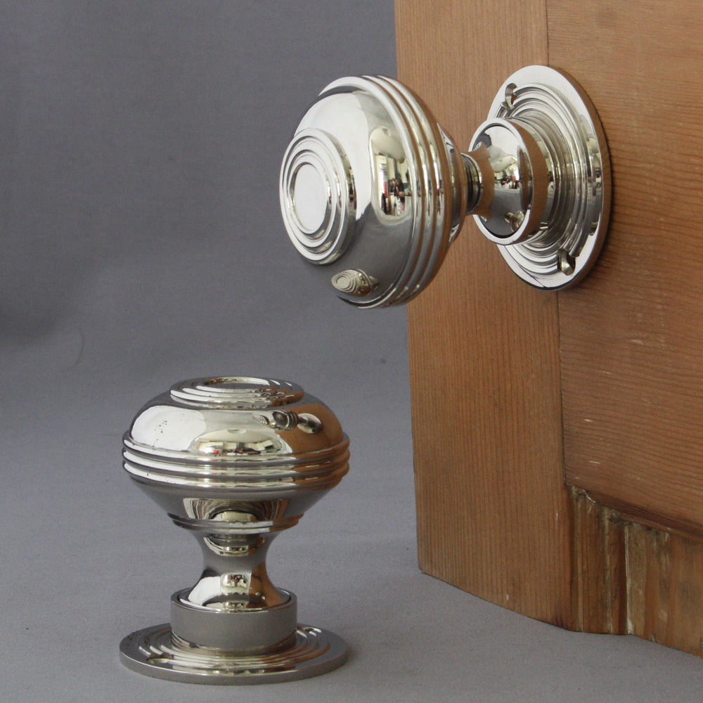 Large Nickel Bloxwich Door Knobs