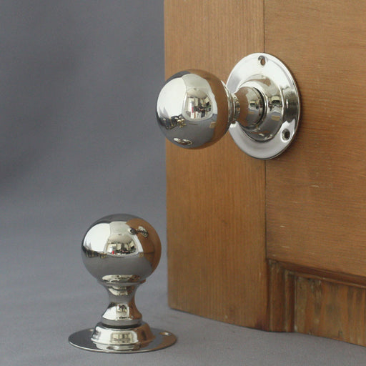 Edwardian Nickel Ball Door Handles