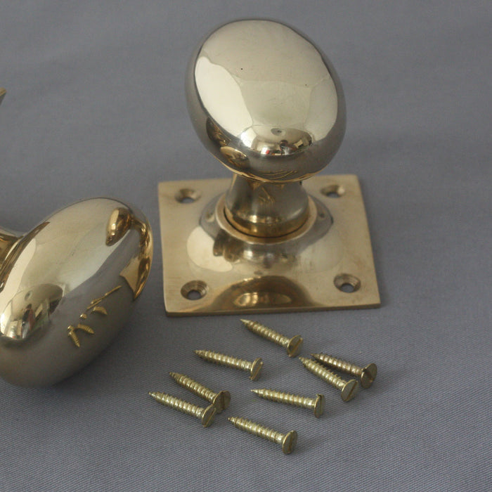 Oval Brass Period Door Handles with Square Back Plate
