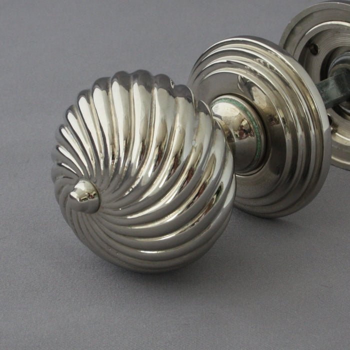 Edwardian Segmented Nickel Door Handles
