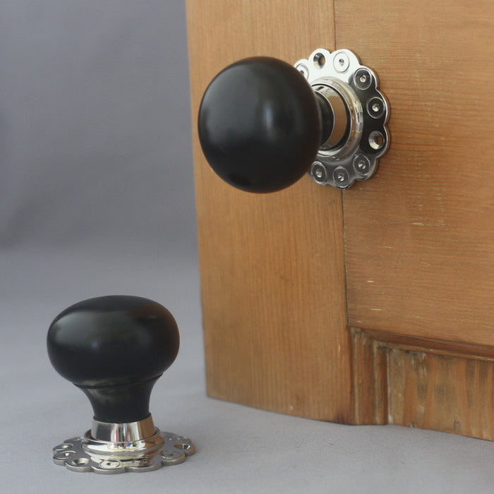 Solid Ebony & Nickel Bun Door Knobs