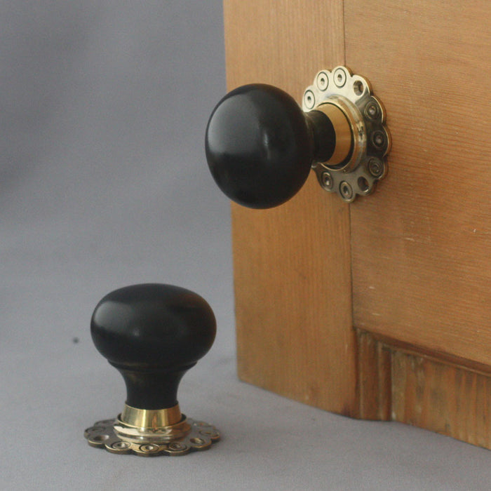 Solid Ebony Bun Door Handles