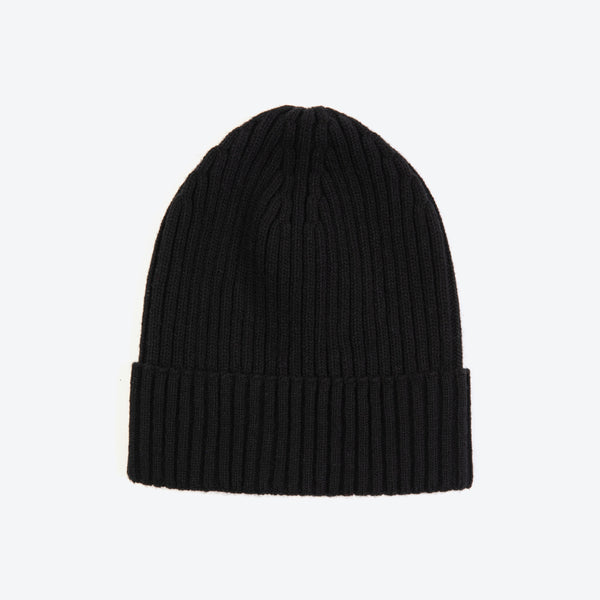 Black Wool-Ribbed Beanie
