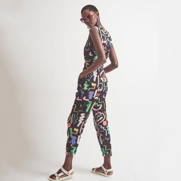 PRE-ORDER Black Scribble Sunny Days Jumpsuit