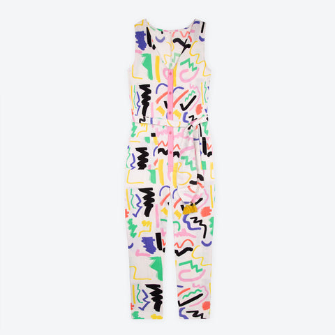PRE-ORDER White Scribble Sunny Days Jumpsuit