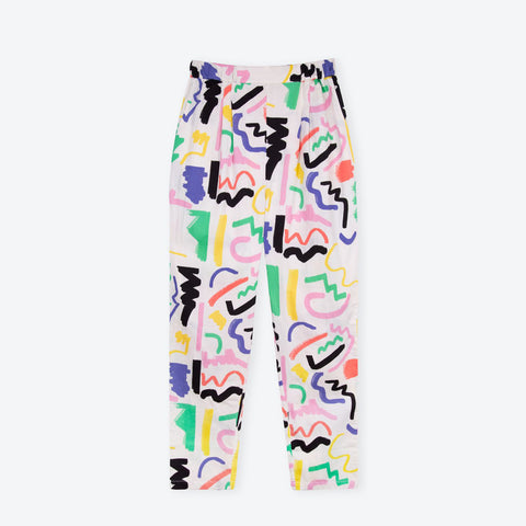White Scribble Holiday Trousers