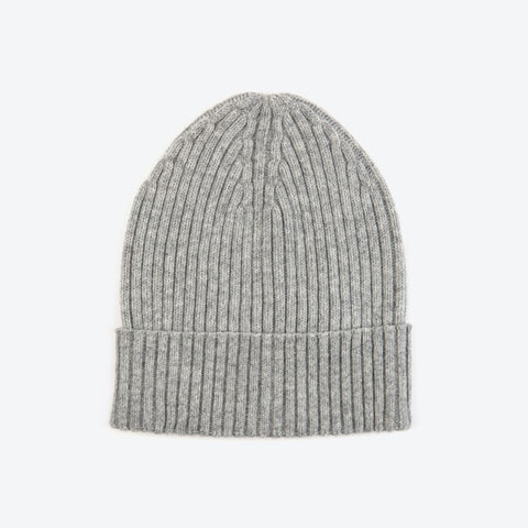 Grey Wool-Ribbed Beanie