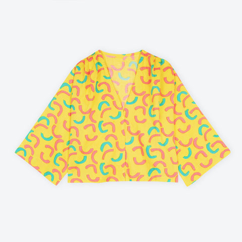 Yellow Macaroni Cropped Swing Jacket
