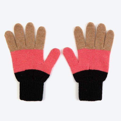 Black Colourblock Gloves