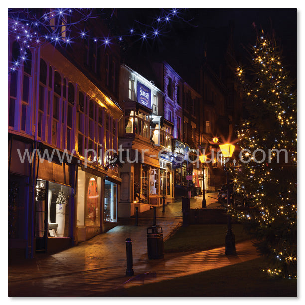 Blank square greetings card featuring the lights of Montpellier Parade, Harrogate, North Yorkshire.