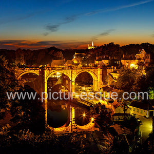 Knaresborough Viaduct at Twilight blank card