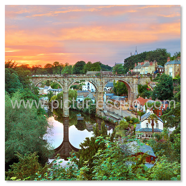 Knaresborough Viaduct Sunset greetings card by Charlotte Gale