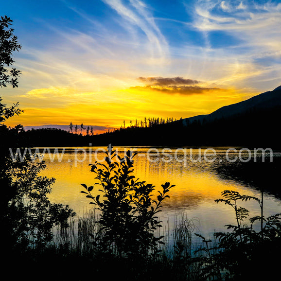 Sunset over the lake in High Tatras Mountains of Slovakia