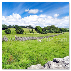Blank card featuring a scenic countryside view en route to Malham
