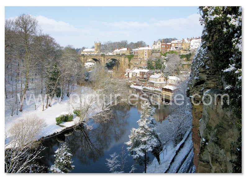 Knaresborough Viaduct in the snow Christmas card