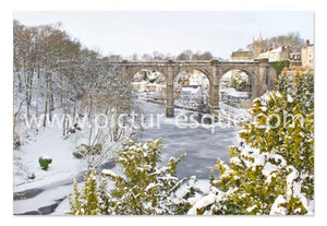 Frozen River Nidd at Knaresborough Yorkshire Christmas Card