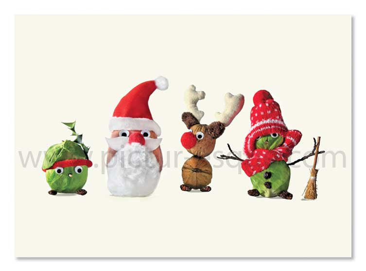Too Many Sprouts Christmas Card by Charlotte Gale