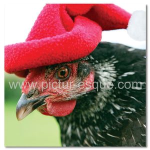 Hen in Christmas Hat Christmas Card