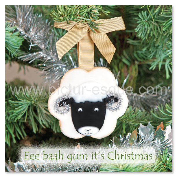 Eee Baah Gum Yorkshire Swaledale Sheep Christmas Card