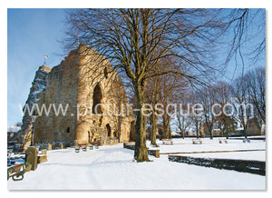 Knaresborough Castle in the Snow Yorkshire Christmas Card by Charlotte Gale