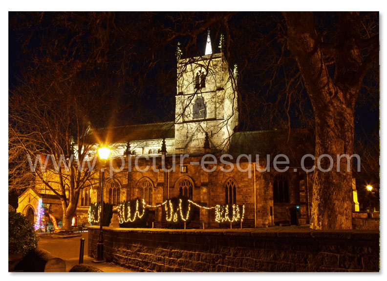 Luxury Knaresborough, North Yorkshire Christmas card featuring St John's Church by Night