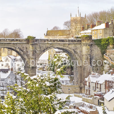 Yorkshire Christmas card featuring Knaresborough Viaduct in the Snow