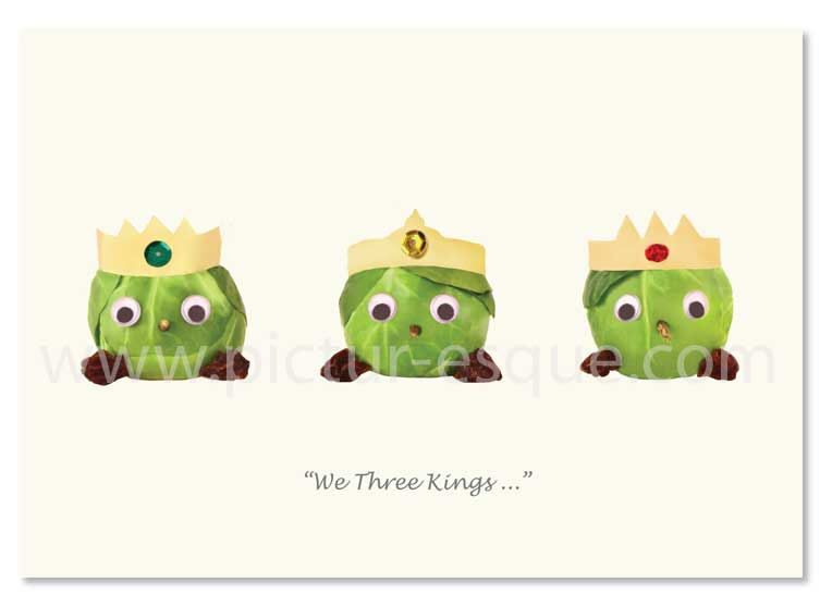 We Three Things Sprouts Christmas Card