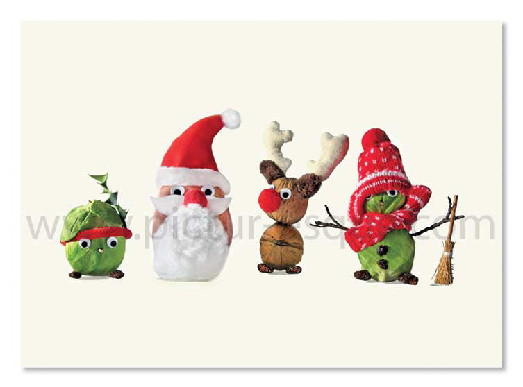 Dressed up vegetables Christmas card