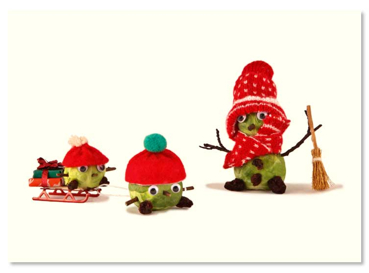 Sledging sprouts christmas card