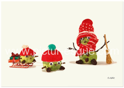 Sledging Sprouts Christmas Cards by Charlotte Gale