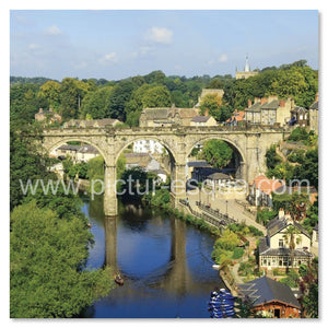'Viaduct in Summer' Knaresborough Blank Square Greetings Card