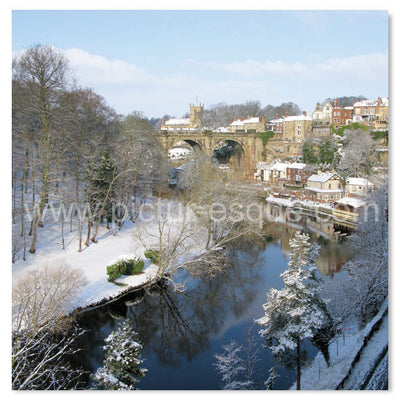 Single 'Viaduct in Winter' Knaresborough Blank Square Greetings Card