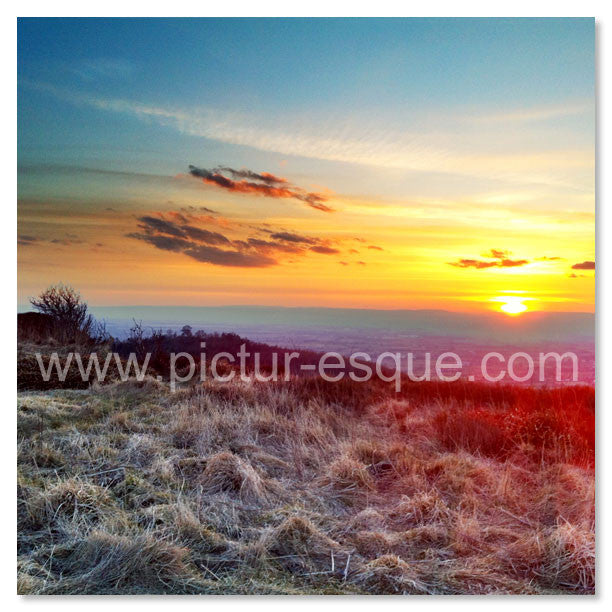 Sutton Bank Sunset blank greetings card