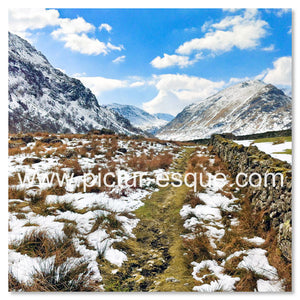 'Borrowdale Fells' Blank Square Greetings Card