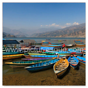 Colourful boats in Pokhara, Nepal