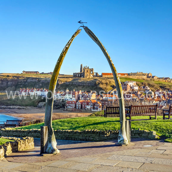 View of St Mary's Church and the Abbey through the whalebones in Whitby