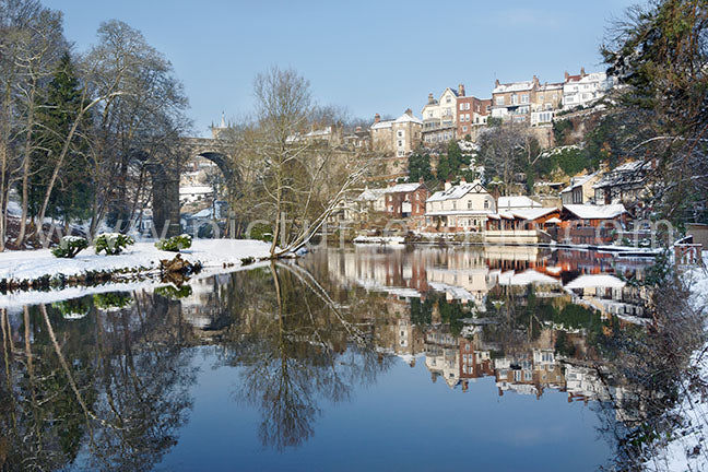 Knaresborough Viaduct Winter Reflections Canvas by Charlotte Gale