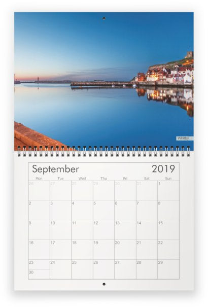 Yorkshire A4 Wall Calendar 2019 - Whitby Harbour