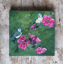 Load image into Gallery viewer, Blue Tits in Spring Acrylic Painting