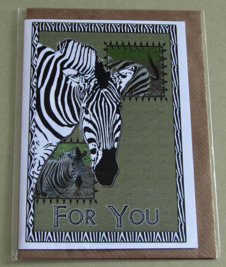 Zebra - Wildlife Art Greeting ard - For You